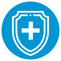blue icon with insurance shield