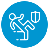 blue icon with person falling